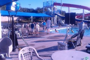 Filming at a swimming pool in December