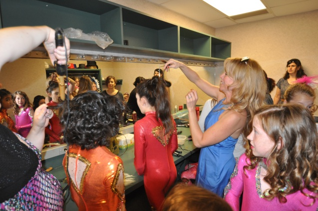 Backstage at Lone Star Circus School's student show