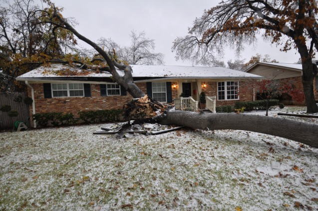 Home in Lake Highlands damaged by Ice Storm Dec 2013