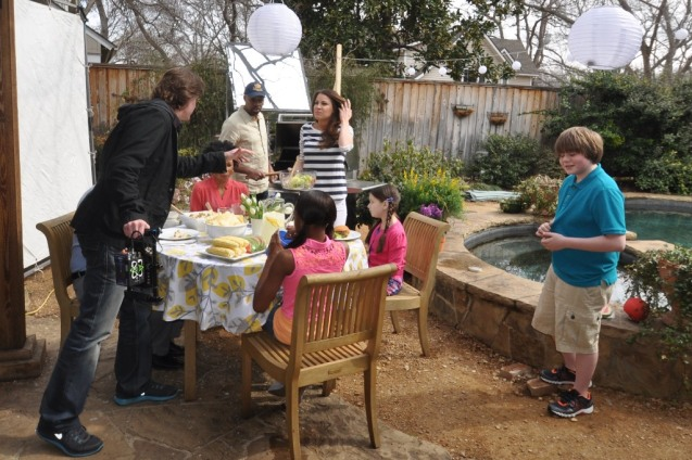 Kameron Badgers on Set for Summer Cookout Promo on a Blustery March Day