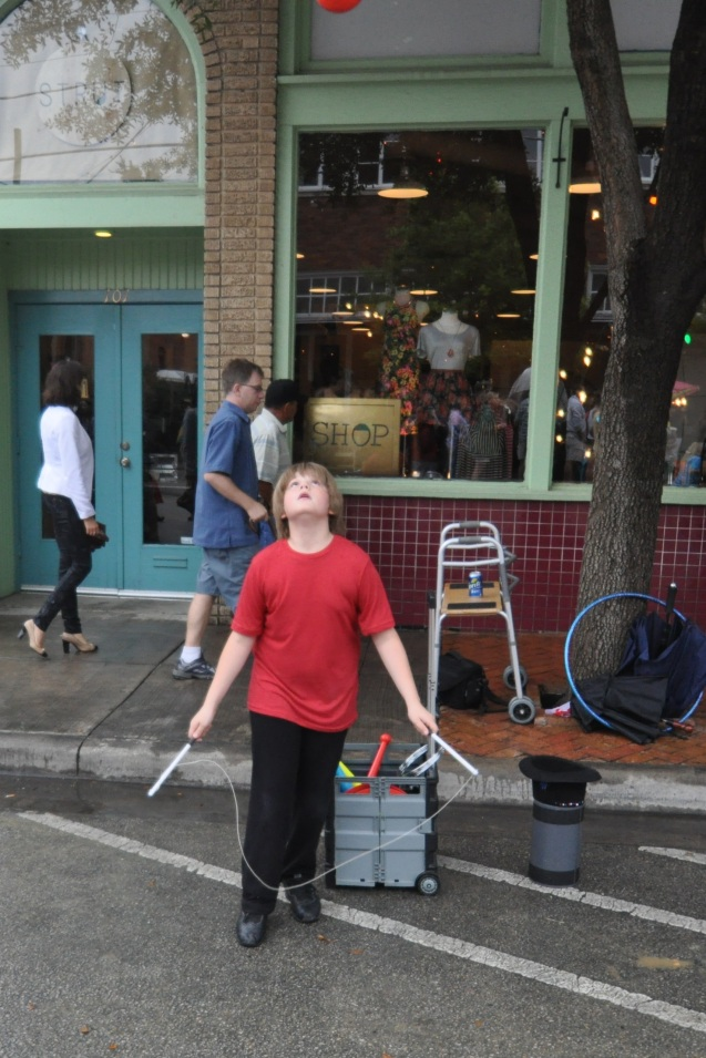 Kameron Badgers performs a diabolo trick at Bastille on Bishop