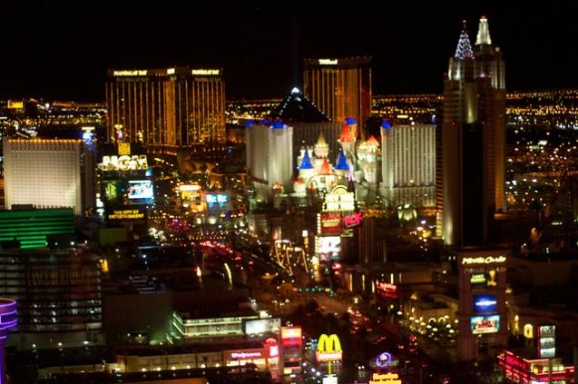 Las Vegas Strip at Night MonteCarlo South to Excalibur
