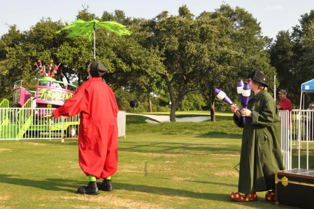 Zerp Balancing an umbrella while Badger Juggles