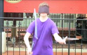 Kameron Bagers Juggling Knives Blindfolded