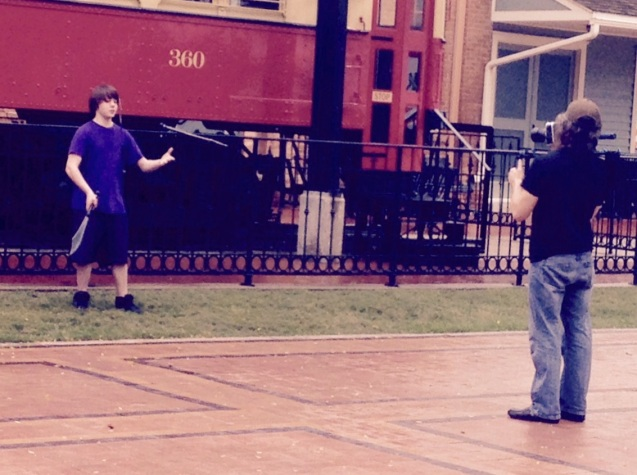 Dallas juggler Kameron Badgers with videographer Todd Jenkins