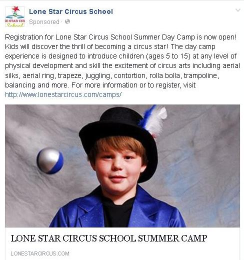 Lone Star Circus Summer Camp Ad 2016