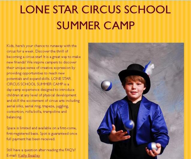 Lone Star Circus Summer Camp Home Page 2016