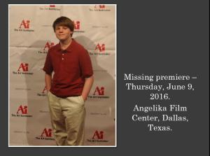 Dallas actor Kameron Badgers on the Red Carpet at the premiere of the film Missing