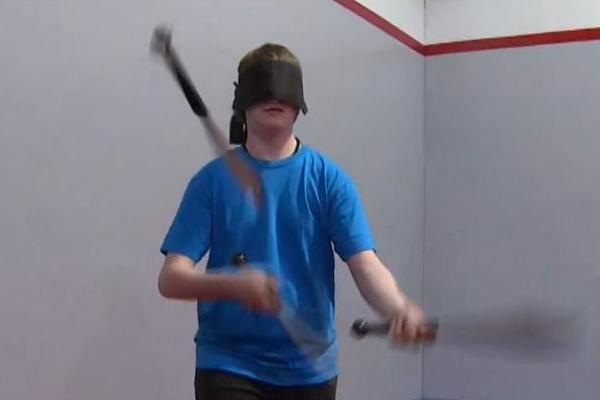 Kameron Badgers Juggling Knives while Blindfolded