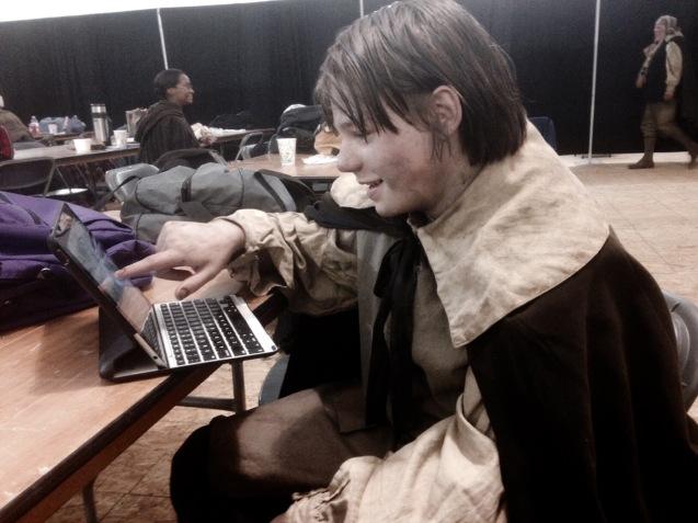 Kameron Badgers between takes on Salem