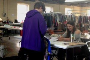 Kameron Badgers signing in for a costume fitting on an untitled TV pilot
