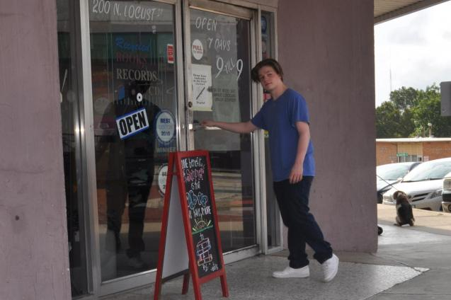 Kameron Badgers on Set Beyond the Bridge Entering Bookstore