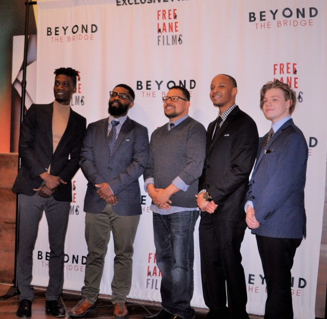 Elijah Britton, Lindsey Cummings, Ramon Malpica, Matthew Thomas and Kameron Badgers at the Beyond the Bridge Premiere